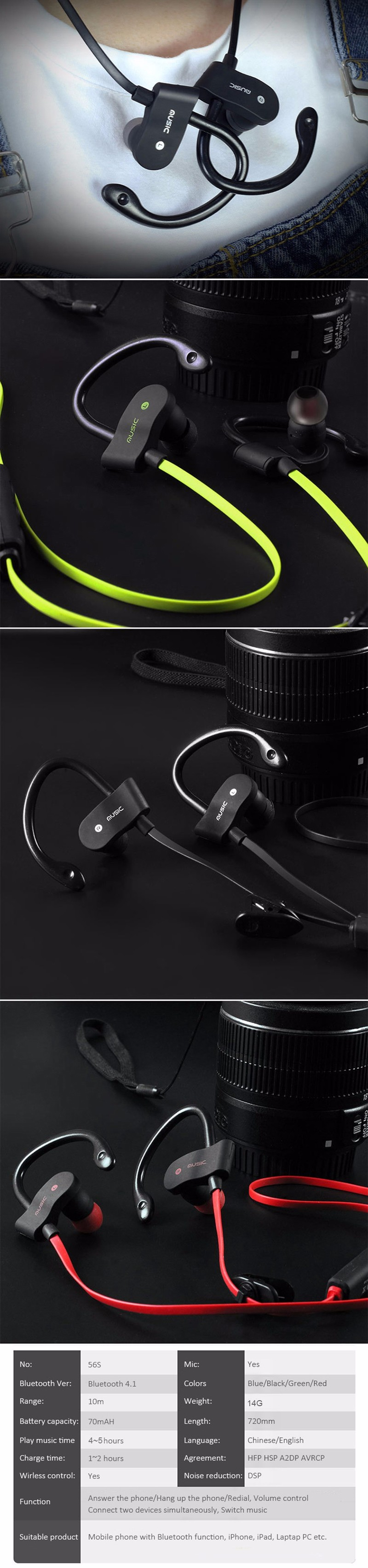 Sports Wireless Bluetooth Earphones 4