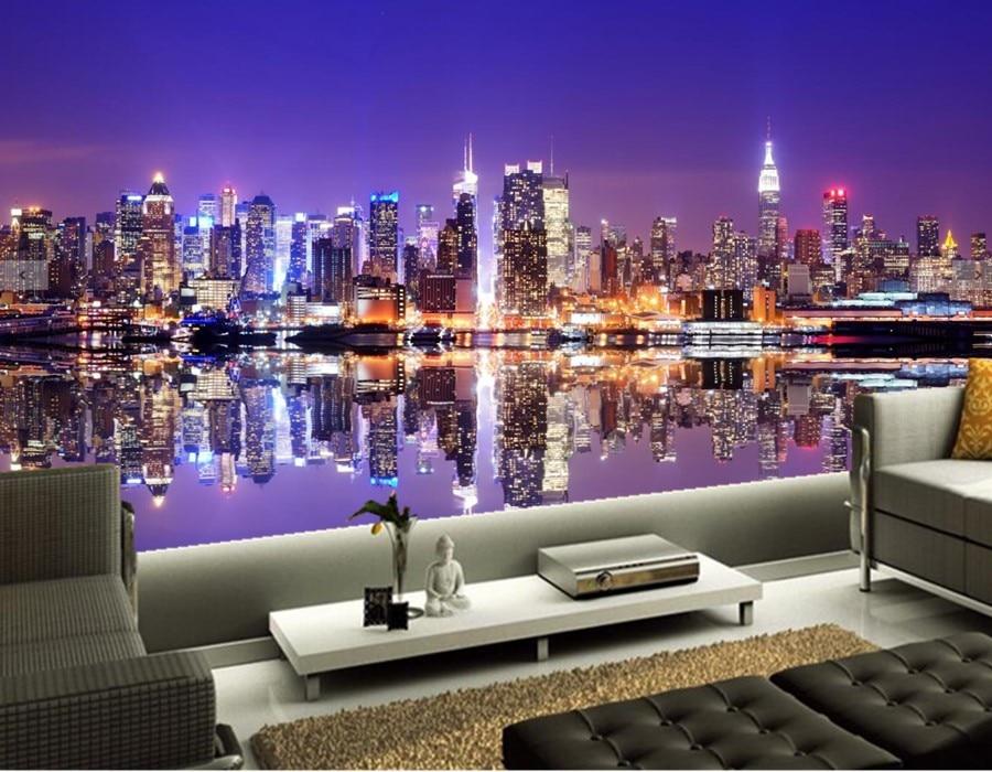 New York City Night Manhattan Cities wallpapers mural,ktv bar wallpaper,living room sofa TV wall bedroom papel de parede