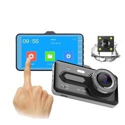 4-cal 1920*1080P nagrywarka samochodowa z ekranem dotykowym rejestrator jazdy pojedynczy/podwójny obiektyw do telefonu kamery rejestrator samochodowy wielojęzyczne przełączania