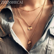 Statement multilayer gold chain necklace women conch pendant Fashion jewelry long necklace Party charm women accessories x98(China)