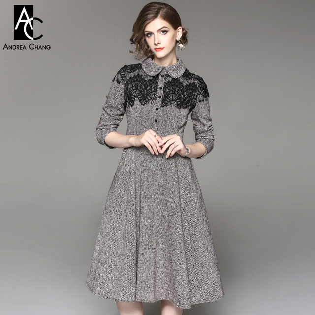 Autumn Winter Woman Dress Black Lace Shoulder Patchwork Light Brown