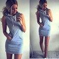 Encapuchada con estilo mini summer dress casual dress shop online ropa bolsillo grande de las mujeres sin mangas vestidos dólar precio tonsee