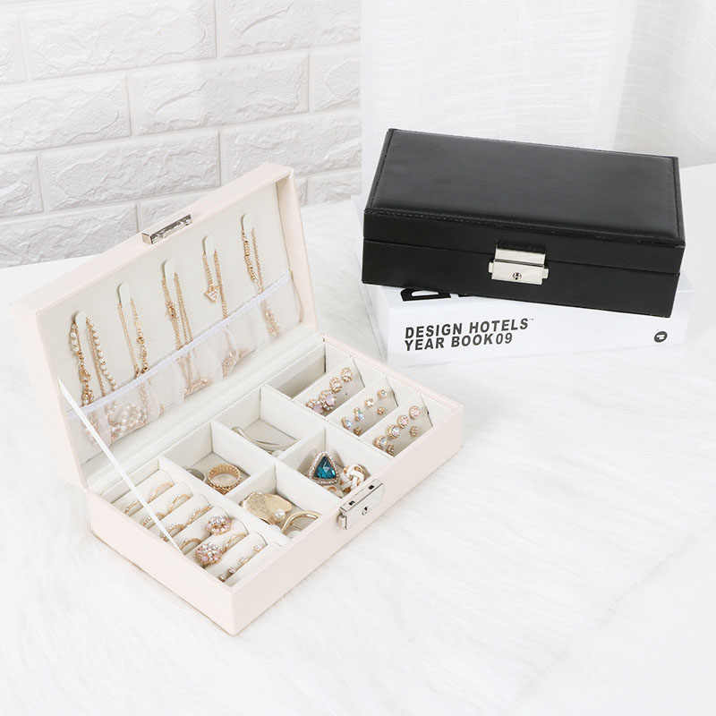 Exquisite Travel Jewelry Box Women Leather Rectangle Packaging Necklace Rings Earrings Storage Organizer Display Gift Boxes Case