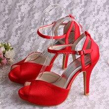 Wedopus Сексуальная Открытым Носком Сандалии Высокой пятки Платформы Обувь для Женщин Красный Цвет Weding Обычай Делать