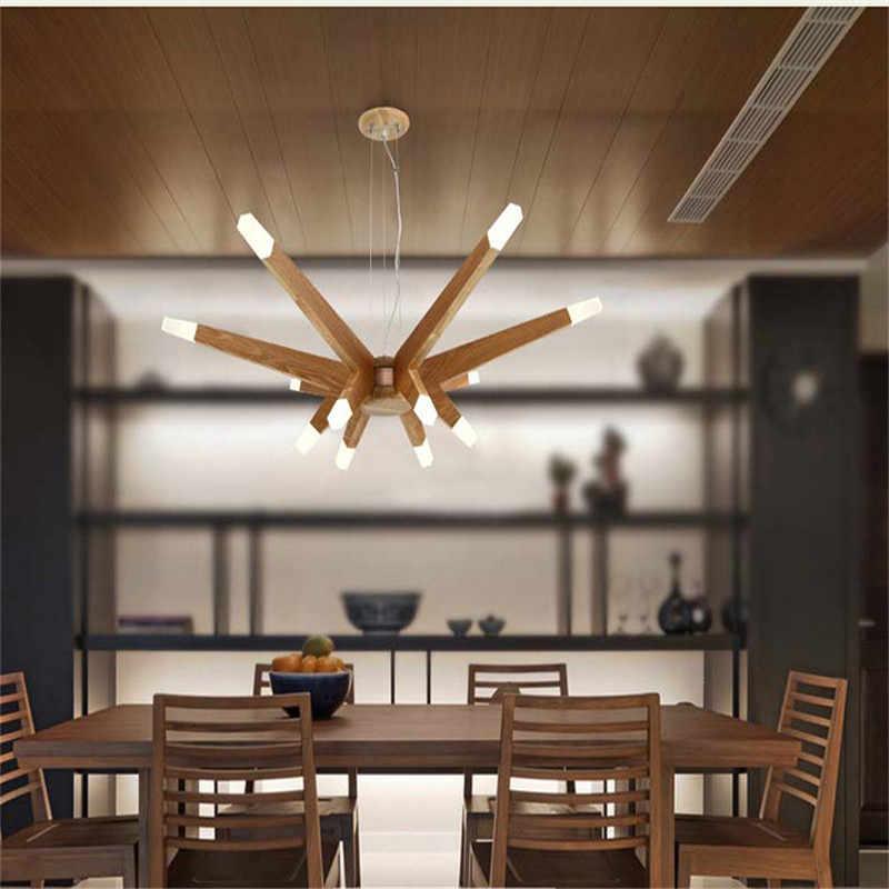 Fumat Lampu Gantung Kayu Cabang Lampu Gantung Ruang Tamu G4 LED Lustres Lampu Gantung Modern Kayu Cabang Lampu Gantung Lampu