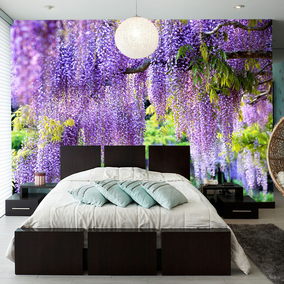 Flowers Wall Wallpapers Design For Your Bedrooms Decorating: Beibehang Custom Poster Printing 3D Romantic Purple Flower