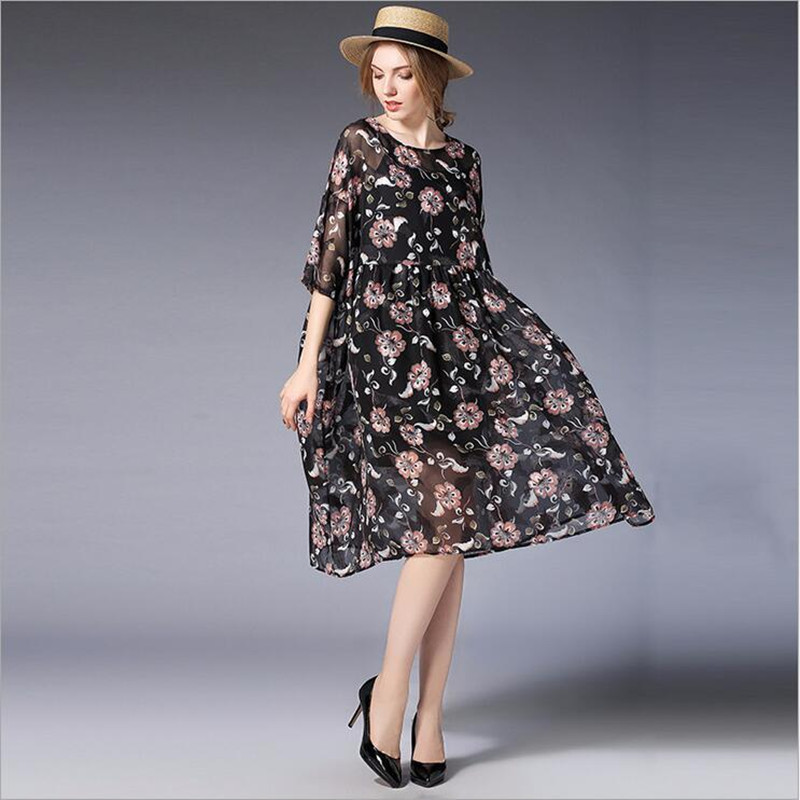 Half 2018 spring Summer Plus Size print chiffon Sexy Dresses 2pc Women Casual Evening Party Dress O-Neck maternity dress L-4XL 2017new brand large size l 5xl pregnant women chiffon dress print half sleeve loose casual cosy maternity clothes vestidos ce962