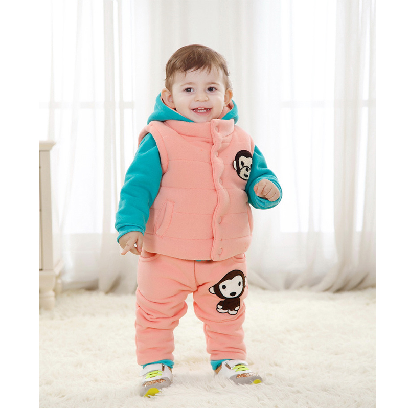 ФОТО Children's clothing 2016 autumn and winter children's suit (1-4 years old) boys and girls thickening of winter clothes
