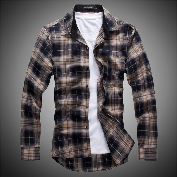 tactical vest 2014 Men British Style Check Shirt Cotton ...