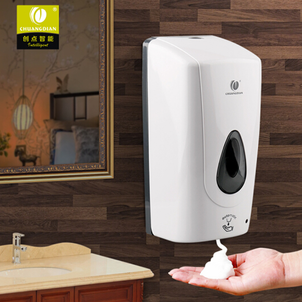 Free Punching Wall Mount Froth Pump Foam Spray Lotion Liquid Soap Container Dispenser Shampoo Box Auto-Induction 135x126x280mm chuangdian hotel auto induction free punching wall mount pump foam spray lotion drop liquid soap container dispenser shampoo box