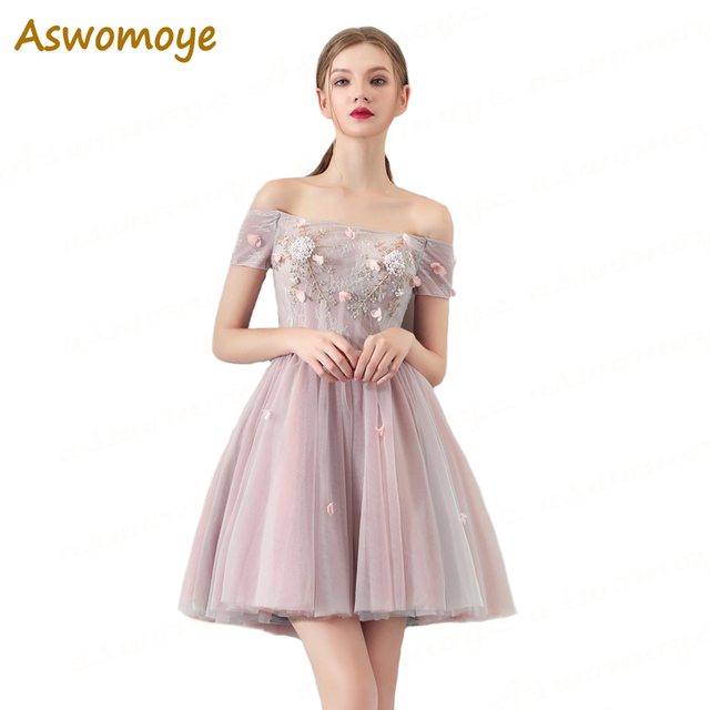 Aswomoye Short Evening Dress 2018 New Fashion Applique Floral Skirt Party Formal  Dresses Junior Student Strapless robe de soiree 8c1790336a57