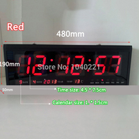 Modern Design Aluminum Large Digital LED Wall Clock Home Decoration BLUE / RED / GREEN Free Shipping