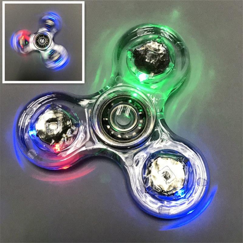 Luminous LED light Fidget Spinner Hand Top Spinners Glow in Dark Light EDC Figet Spiner Finger Stress Relief Toys 5