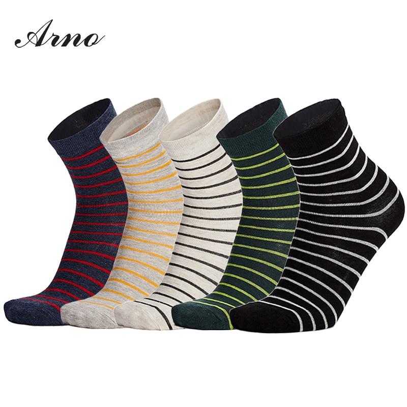 ARNO 5 pairs / lot Brand Men Socks, Colorful Dress Socks Cotton Men Striped Design Free Size Calcetines Hombre, LW5001-5L