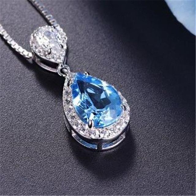 S925 sterling silver pendant water drop topaz blue ruby pendants s925 sterling silver pendant water drop topaz blue ruby pendants bride wedding engagement party fine aloadofball Choice Image