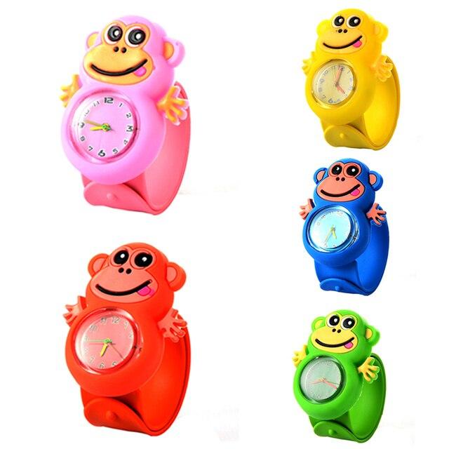 Cute Cartoon Kids Children Watches Animal Monkey Soft Silicone Quartz Watch for