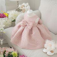 Elegant Girl Clothes Girl Big Bowknot 2016 Summer Fashion Pink Lace Wedding Dress Birthday Party Dress