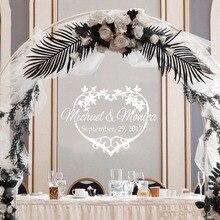 Custom Name Wedding Decoration Stickers Floral Design Bride Groom Modern Art Removable Decoration Decor Decals LY1482 цена 2017