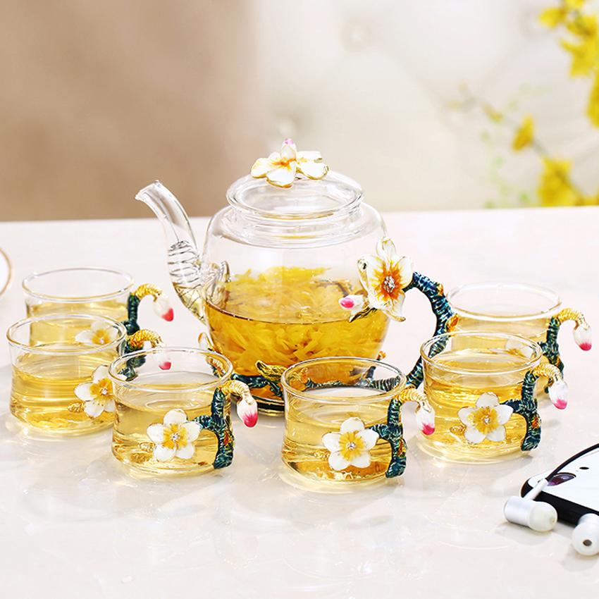 British Heat resisting glass tea cups set Top grade color Enamel cup Teatime Afternoon Tea Teapot
