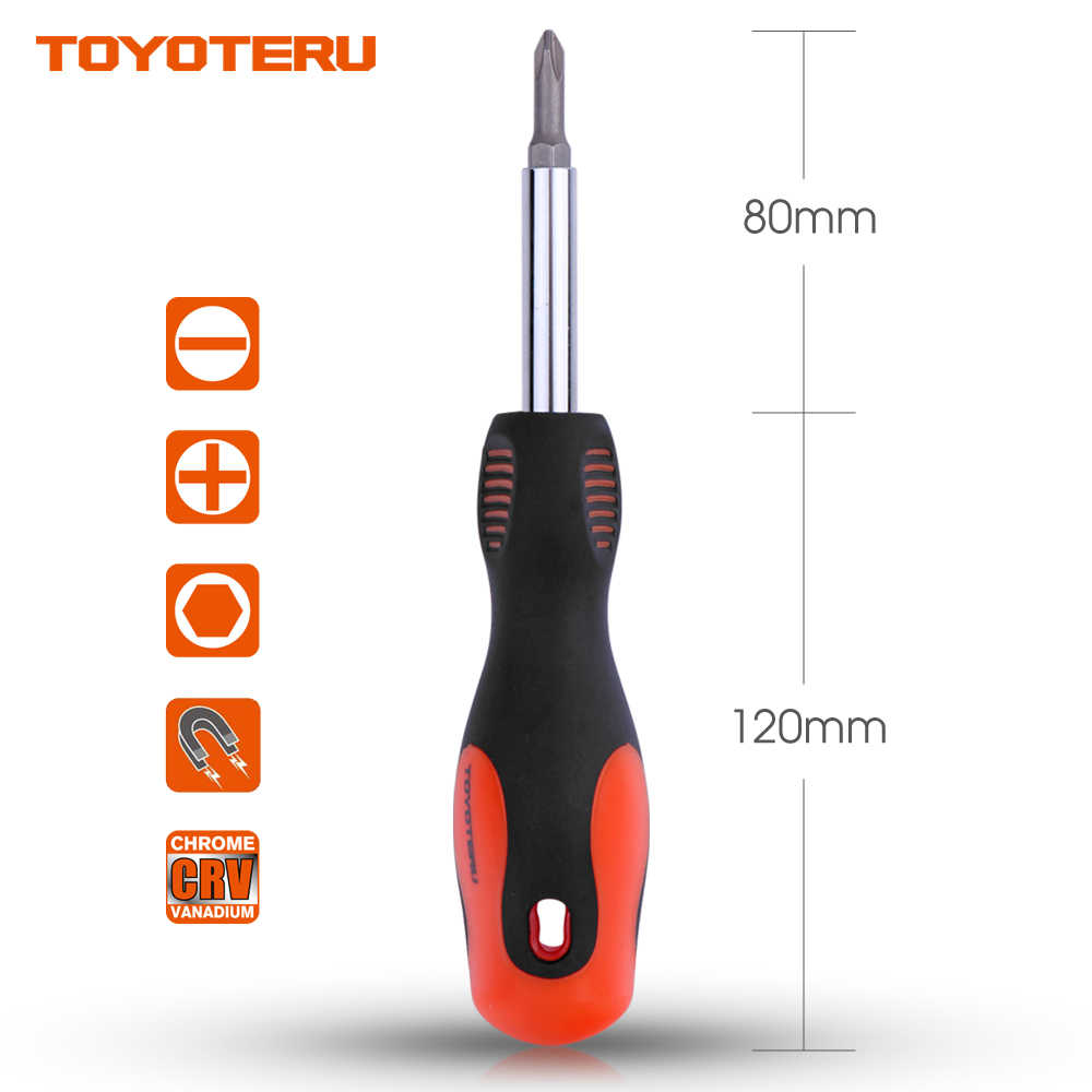 "TOYOTERU 6 in 1 Quick Change Screwdriver Slotted 3/16"" ,9/32"" Phillips #1,#2 Nut Driver 1/4"",5/16"" Mutifunction Screwdriver Set"