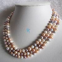 Free shipping@@@@@ 60 7 8mm Multi Color Freshwater Pearl Necklace White Peach Pink Lavender GH600