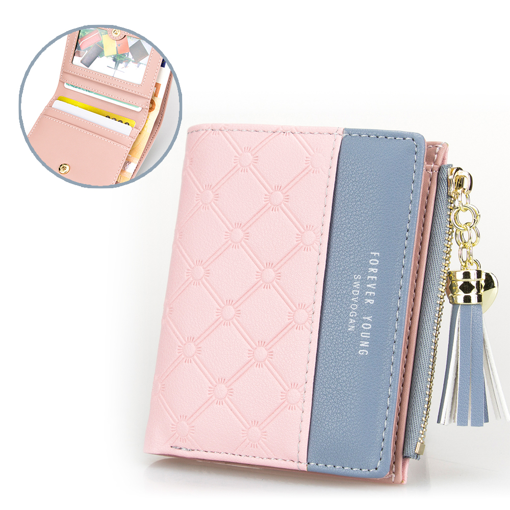 New Tassel Zipper Purse Pink Woman's Wallet Double Color Leather Wallets for Euro Card Holder Money Bag for Girls Women Wallet new fashion zipper women wallets hit color stitching leather coin purse short tassel money bag cute bow card holder wallet