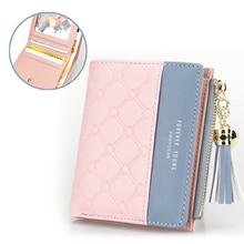 New Tassel Zipper font b Purse b font Pink Woman s Wallet Double Color Leather Wallets