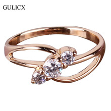2014 18K Gold Plated Round-Cut White Crystals Swiss Cubic Zirconia Engagement Rings Women Wholesale Free Shipping (GULICX R029)