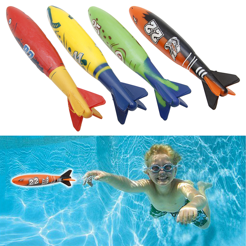 4 Pcs Rubber Swimming Pool Toys Diving Sport Outdoor Toypedo Bandits Play Water Fun Pool Fun