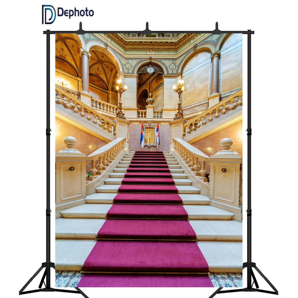 DePhoto photography background palace red carpet vintage stair professional wedding backdrops photobooth photo studio prop
