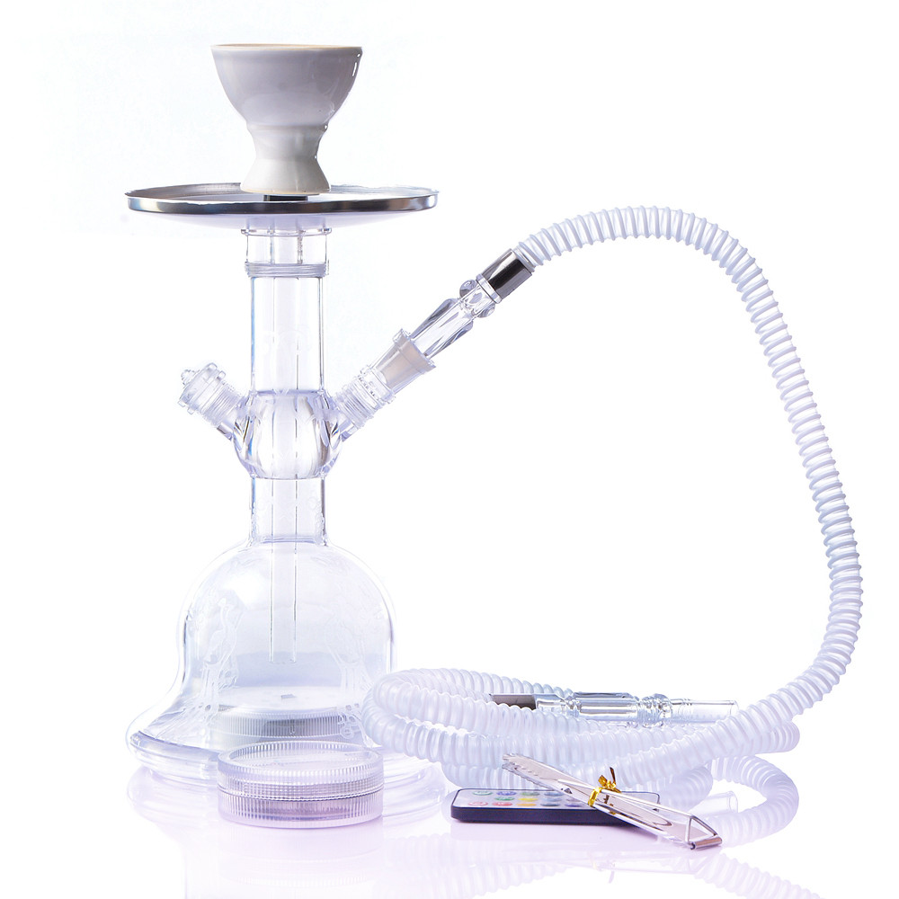 Acrylic LED Light Shisha Pipe Set Narguile Hookah With Chicha Plastic Hose Ceramic Tobacco Flavors Bowl Charcoal Tongs
