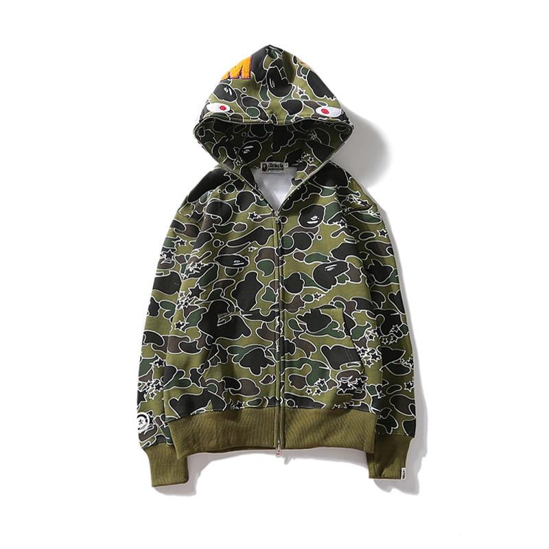 4278cd4aa8a3 a bathing ape shark hoodie sweatshirt marsh camo bathing ape-in Hoodies    Sweatshirts from Men s Clothing   Accessories on Aliexpress.com