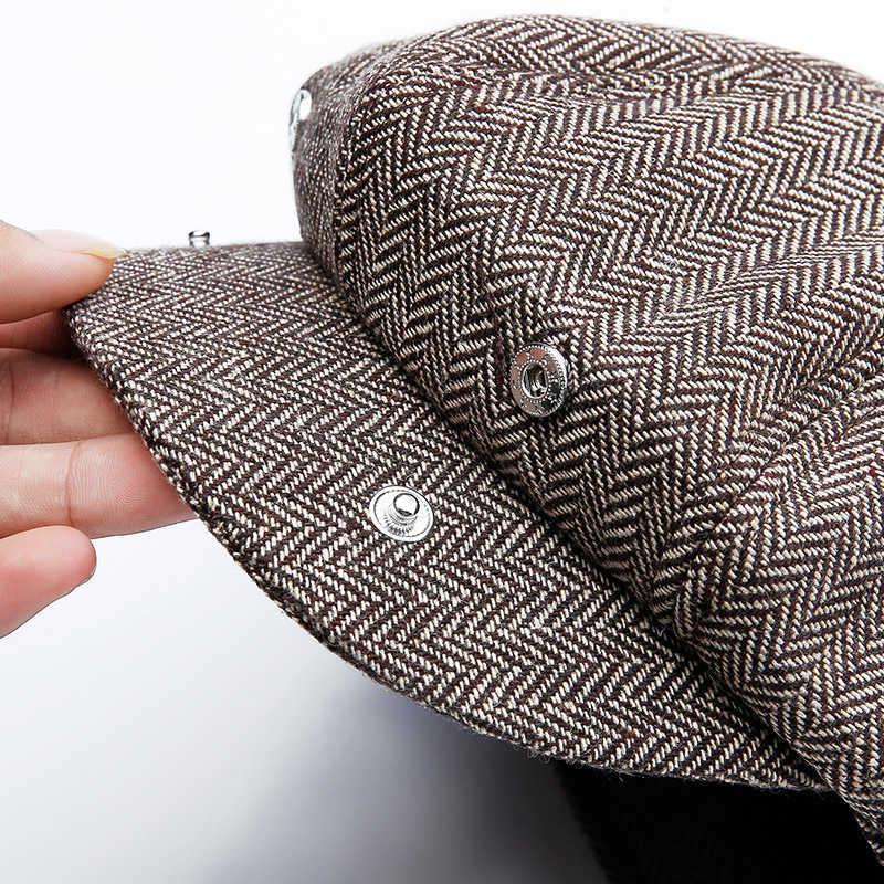 e16df224 ... Peaky Blinders Men Berets Hat Autumn New Vintage Herringbone Octagon Cap  Women'S Casual Pumpkin Hat Gatsby ...