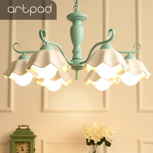 Artpad Modern Cottage Flower Lampshade Hanglamp Pink Green White Nordic Suspended Pendant Light Bedroom Living Room Study LED