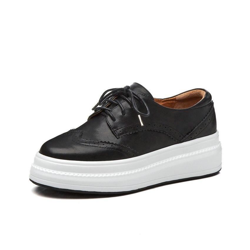 Cutaa 2019 zapatos de plataforma para mujer zapatos de cuero de vaca con cordones + cuñas de punta redonda de pu con plataforma de tacón para mujer tamaño 34 39-in Zapatos de tacón de mujer from zapatos    2