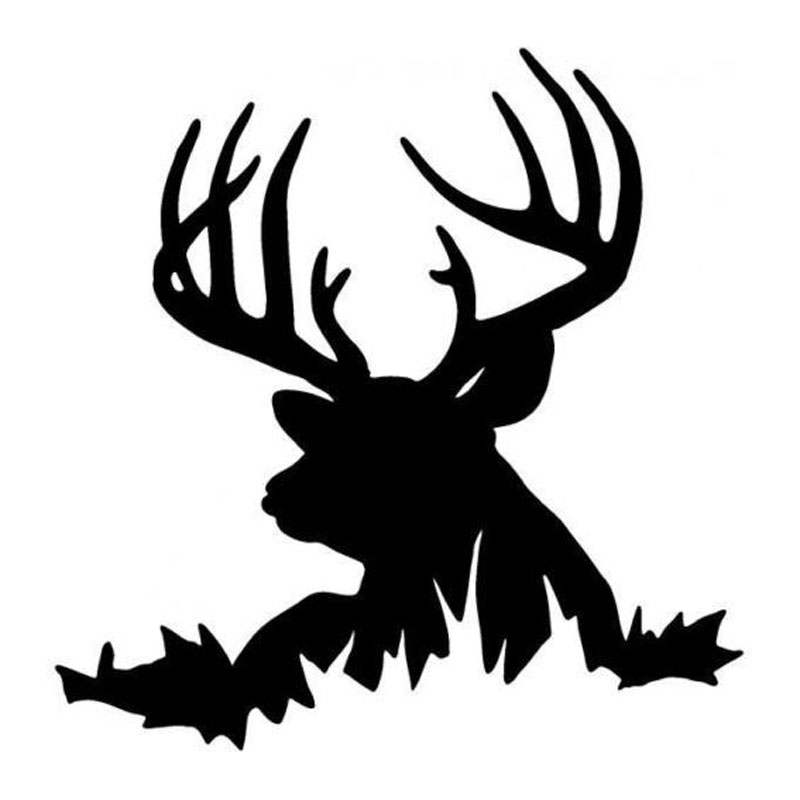 14.9*15.2CM Deer In Grass Car Stickers Hunting Animal Vinyl Car Styling Decals Accessories Black/Silver C9-1829