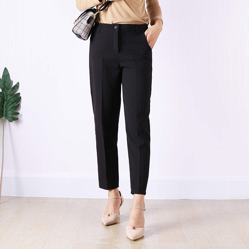 2019 Spring Office Lady   Capris     Pants   Black Solid Casual Straight Trousers Ankle Length Femme Work OL   Pant   Gray