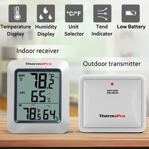Image 2 - ThermoPro TP60 60M Wireless Digital Weather Station Hygrometer Indoor Outdoor Thermometer with Temperature Gauge Humidity Meter