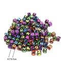 Hot Sale 100Pcs Colorful Letter Dice Alphabet Cube Loose Flat Spacer Beads 7mm For DIY Bracelets & Necklaces PZ17
