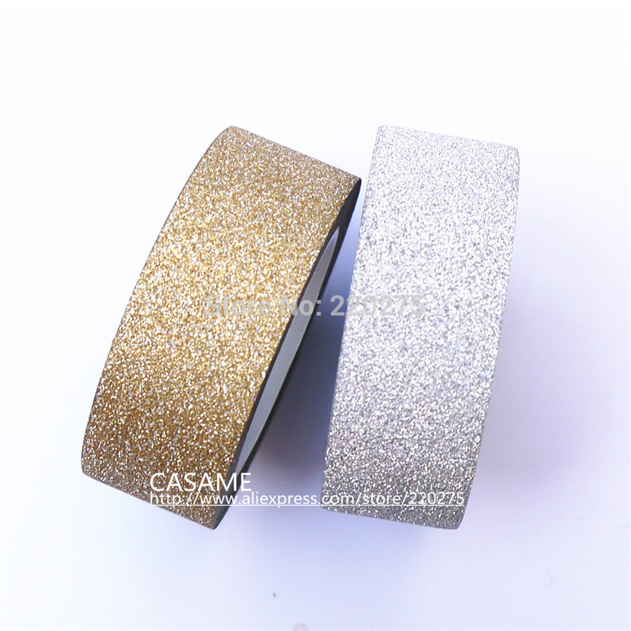 5m korean style totaly gold glitter tape paper scrapbooking book decor self adhesive stick washi. Black Bedroom Furniture Sets. Home Design Ideas