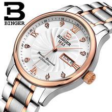 Suisse hommes Montres de luxe marque montres BINGER lumineux Montres À Quartz complet en acier inoxydable Étanche B603B-5