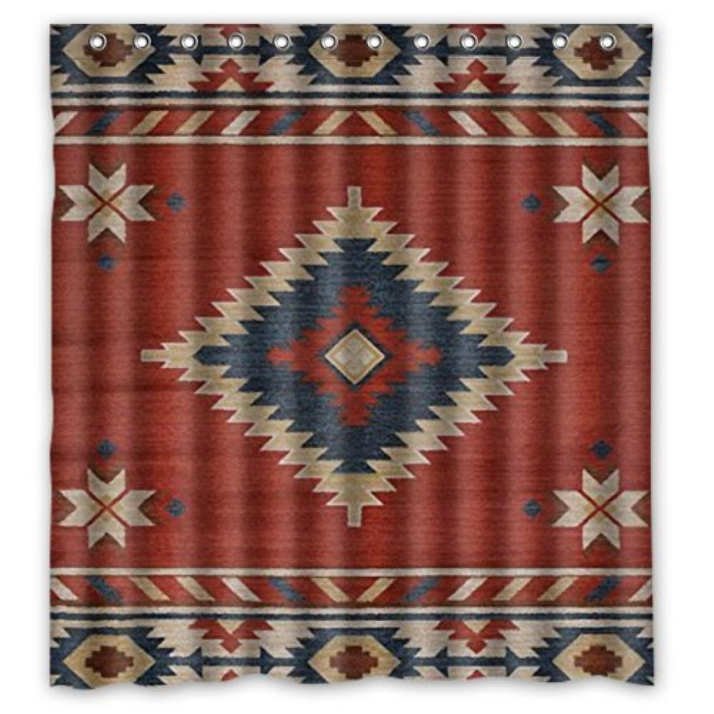 66(W)x72(H)-Inch Southwest Native American New Waterproof Polyester Curtain (Shower Rings Included)