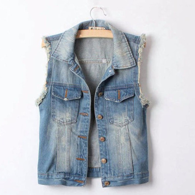 2015 Women Frayed Personalized Cardigans Lady Denim Jean Vest Coat Turn-down Collar Vintage Short Outwear Cool Jacket