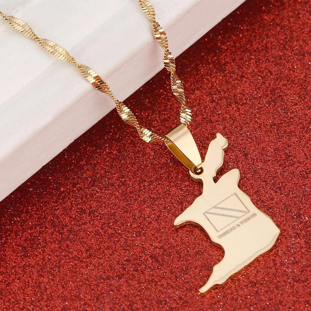 Trinidad and Tobago Map Flag Pendant and Necklace Gold Color Trendy Jewelry Gifts tobago men necklace trinadad necklace