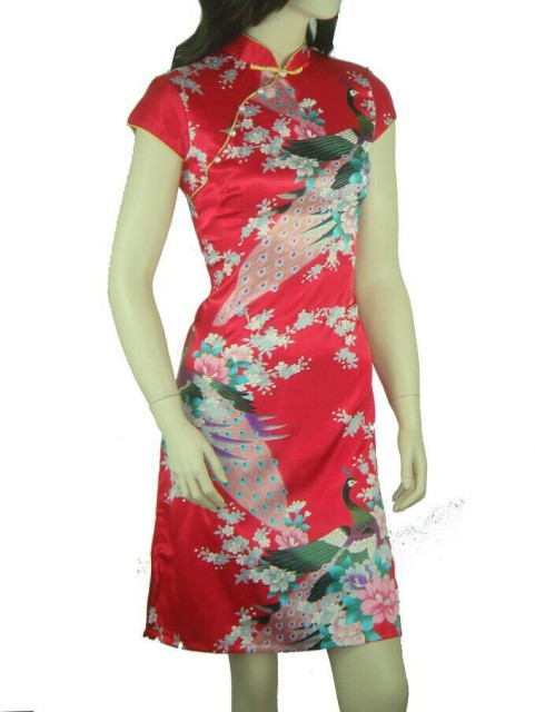 Free Shipping Women's Silk Satin Cheongsam Top Chinese Vintage Printed Qipao Robe De Soiree Flower Size S M L XL XXL WC039