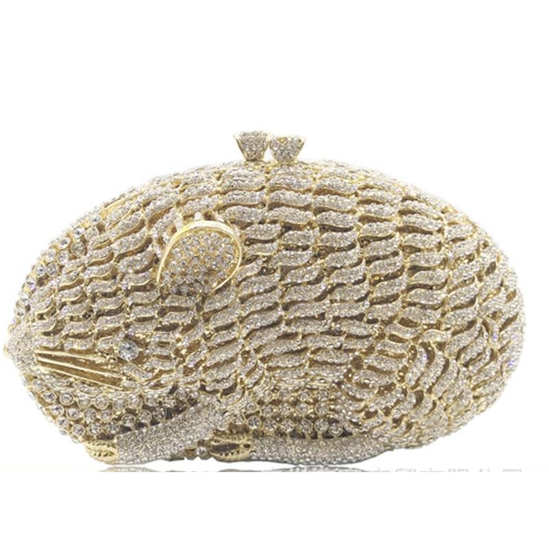 все цены на XIYUAN BRAND gold Crystal Women Evening Bags Wedding Party Cocktail Handbags and Purses Bridal Rhinestone Clutches mini purse