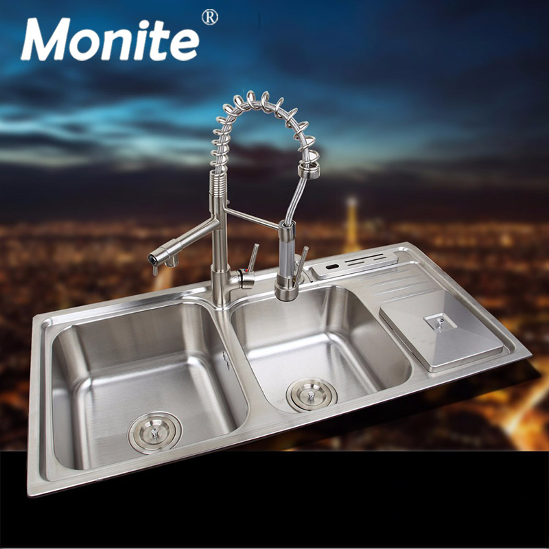 Stainless Steel Kitchen Sink Vessel Set With Faucet Double Sinks Kitchen Sink Undermount Kitchen Washing Vanity 920mmx450mm double bowl stainless steel kitchen sink with faucet tap evier fregadero de la cocina disipador lavello della cucina spoelbak ke