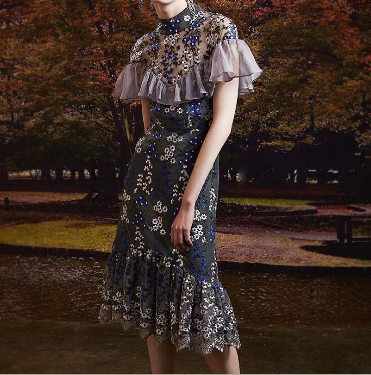 Elegant Floral Embroidery Mesh Lace Dresses 2018 Women Summer Ruffles Perspective Midi Dress vestido de festa