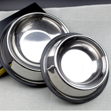 5 No. stainless steel dog bowl pet cat hair food large skid bowls