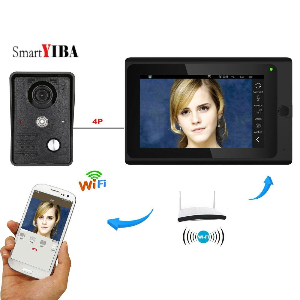 SmartYIBA Video Intercom 7 Inch Monitor Wifi Wireless Video Door Phone Doorbell Door Entry Camera Monitor System Android IOS APP